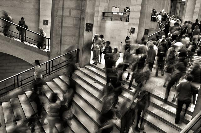 people walking stairs